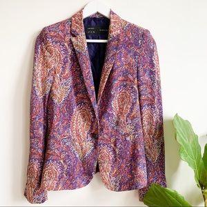 Zara Purple Orange Multicolor Paisley Blazer S